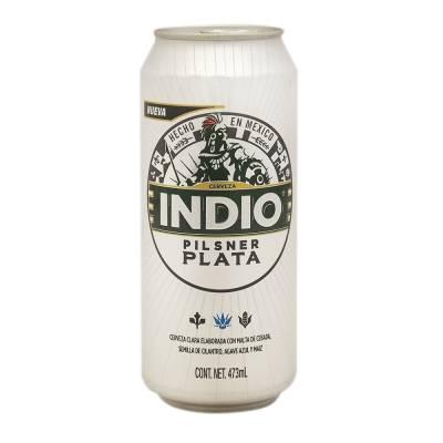 Cerveza Clara Indio Pilsner Plata Lata De 473 Ml