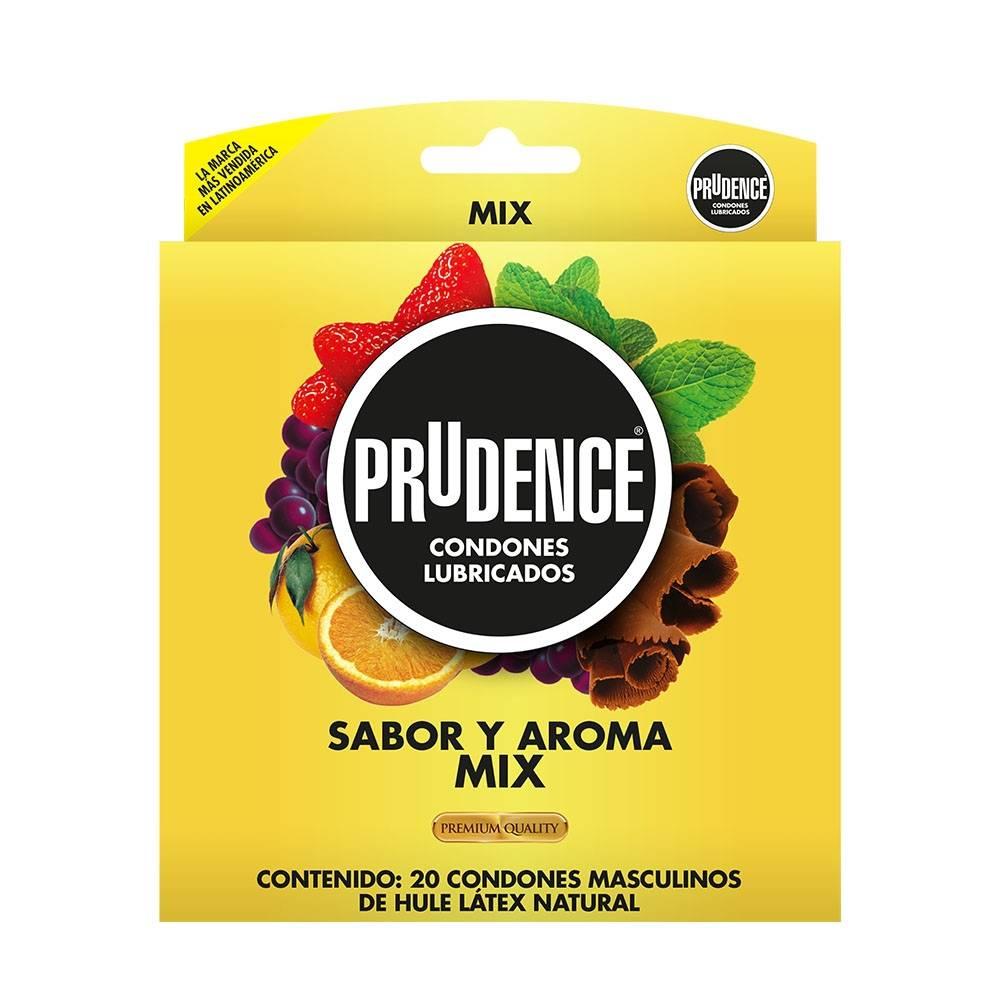 Condones Prudence mix 20 pzas con sabor y aroma