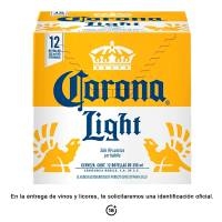 Cerveza clara Corona light 12 botellas de 355 ml c/u