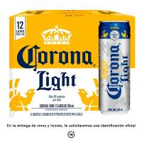 Cerveza clara Corona light 12 latas de 355 ml c/u
