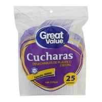 Cucharas desechables Great Value jumbo de plástico cristal 25 pzas