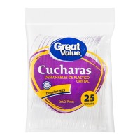 Cucharas desechables Great Value chicas de plástico cristal 25 pzas