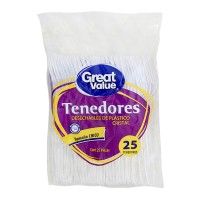 Tenedores desechables Great Value chicos, de plástico cristal 25 pzas