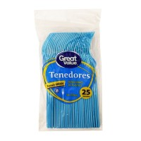 Tenedores Great Value desechables tamaño grande azul 25 pzas